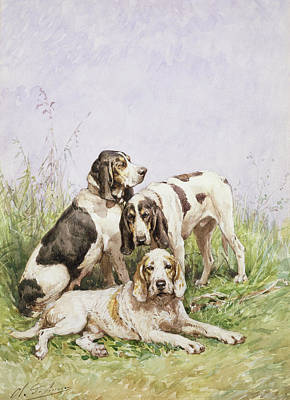 Working Breed Painting - A Group Of French Hounds by Charles Oliver de Penne