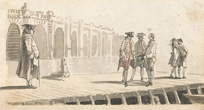 18th Century Painting - A Group Of Men On Westminster Pier by Paul Sandby