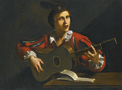 Painting - A Guitar Player Seated In An Interior by Pietro Paolini