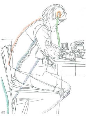 Denim Drawing - A Guy In Denim Reading by Stan  Magnan