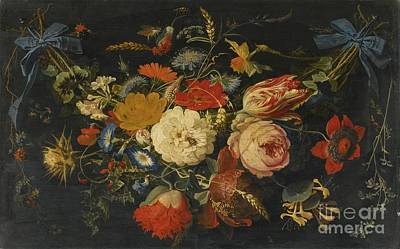Including Painting - A Hanging Garland Of Flowers And Fruit by Celestial Images