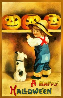 A Happy Halloween Puppy Print by Unknown