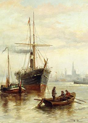 A Harbor Scene With A View Of Venice Print by Bartolomeo Bezzi
