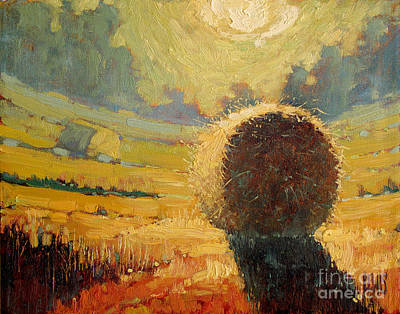 Haybale Painting - A Hay Bale In The French Countryside by Robert Lewis