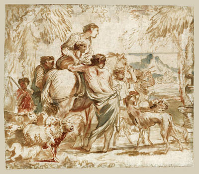Drawing - A Herdsman And His Family by Giovanni Benedetto Castiglione