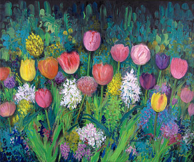 Purple Flowers Painting - A Host Of Tulips. by Sandra Delaney