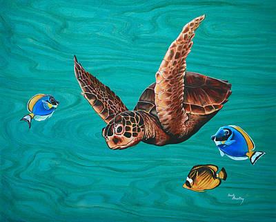 Hawaii Sea Turtle Painting - A Hui Hou - Sea Turtle by Emily Brantley