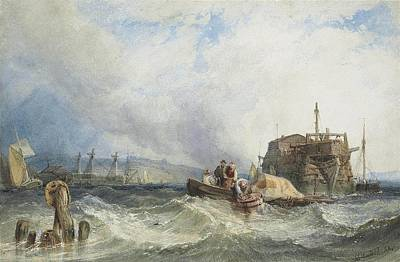 A Hulk With Other Shipping In The Medway Print by Clarkson Stanfield