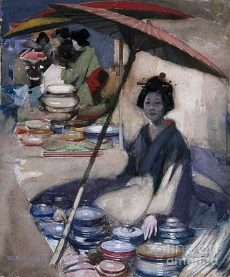 Pottery Painting - A Japanese Pottery Seller by MotionAge Designs