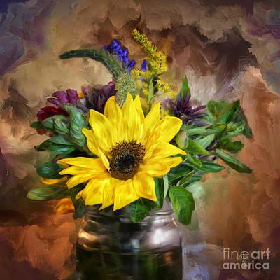 A Jar Of Wildflowers Print by Lois Bryan