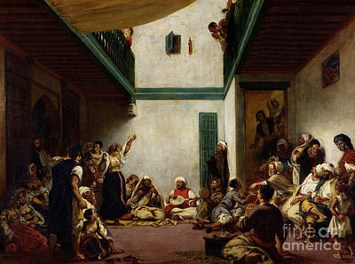 Romanticist Painting - A Jewish Wedding In Morocco by Ferdinand Victor Eugene Delacroix