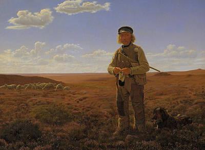 Lambing Painting - A Jutland Shepherd On The Moors by Frederik Vermehren