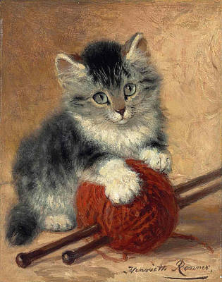 Henriette Ronner-knip Painting - A Kitten With A Ball Of Wool by Henriette Ronner-Knip