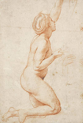 A Kneeling Nude Woman With Her Left Arm Raised Print by Raphael