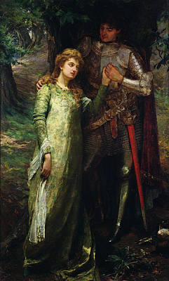 Holding Hand Painting - A Knight And His Lady by William G Mackenzie
