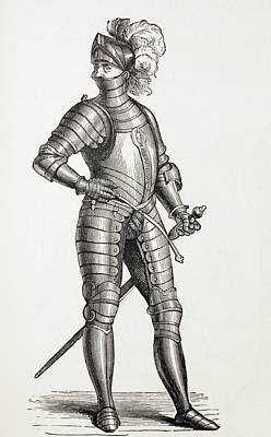 A Knight In Complete Armour In The 15th Print by Vintage Design Pics