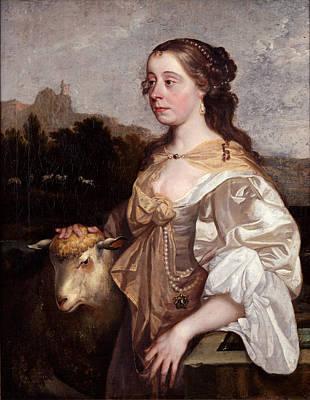 A Lady As A Shepherdess Print by John Greenhill