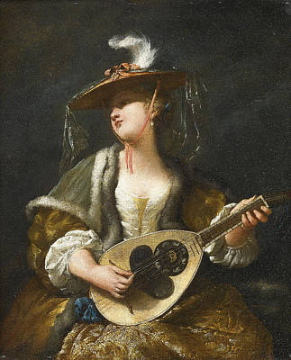 Jean Barbault Painting - A Lady Playing A Mandolin by Jean Barbault