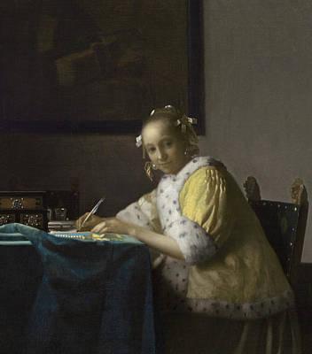 A Lady Writing Print by Jan Vermeer