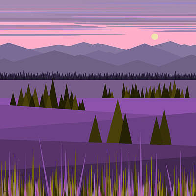 Minimalist Landscape Digital Art - A Lake In The Mountains -  Pink Sky by Val Arie