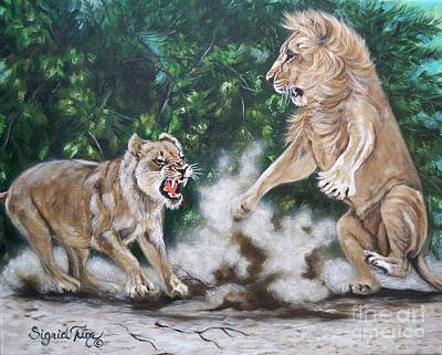 Growling Painting - A Lion's Life - by Sigrid Tune