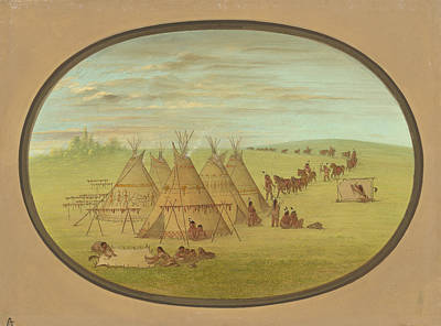 Painting - A Little Sioux Village by George Catlin