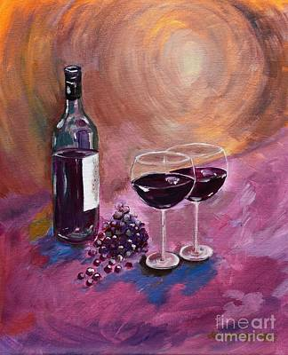 Bottle Of Wine Painting - A Little Wine On My Canvas - Wine - Grapes by Jan Dappen