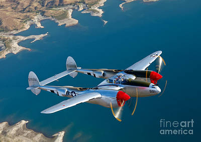 Aerial Photograph - A Lockheed P-38 Lightning Fighter by Scott Germain