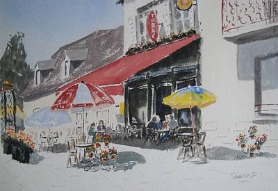 A L'ombre D'une  Terrasse D'un  Cafe  Shadow Of An Outdoor Pub Original by Dominique Serusier