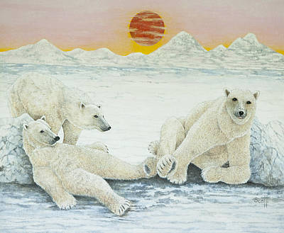 Bear Painting - A Long Days Night by Pat Scott