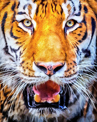 Tiger Painting - A Look Into The Tiger's Eyes by David Millenheft