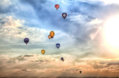 A Lot Of Colorful Hot-air Balloons Print by Regina Koch