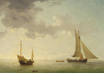A Lugger And A Smack In Light Airs Print by Charles Brooking