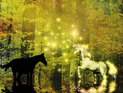 A Magic Encounter In The Enchanted Forest Print by Diane Schuster