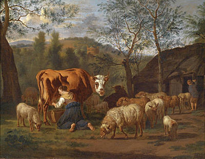 Adriaen Van De Velde Painting - A Maid Milking A Cow And Goats In Front Of The Barn by Adriaen van de Velde