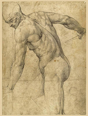 Drawing - A Male Nude Holding A Dagger by Giovanni Battista Franco