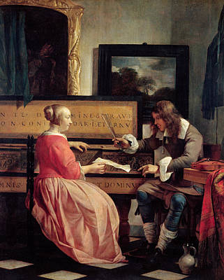 Man And Woman Painting - A Man And A Woman Seated By A Virginal by Gabriel Metsu