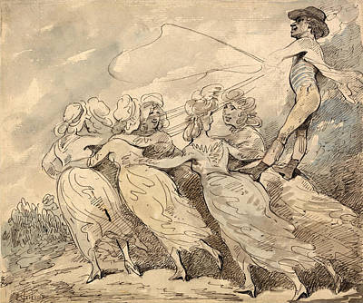 Drawing - A Man Driving A Team Of Six Girls by Thomas Rowlandson