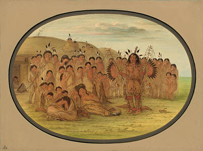 Painting - A Mandan Medicine Man by George Catlin