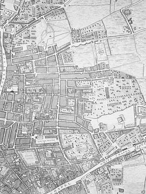 Capital Cities Drawing - A Map Of Shoreditch And Whitechapel by John Rocque