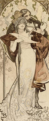 Charming Drawing - A Maquette For A Programme by Alphonse Marie Mucha
