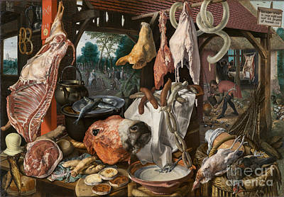 Giving Painting - A Meat Stall With The Holy Family Giving Alms by Celestial Images