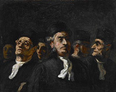 Daumier Painting - A Meeting Of Lawyers by Honore Daumier