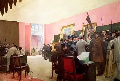 Desk Painting - A Meeting Of The Judges Of The Salon Des Artistes Francais by Henri Gervex