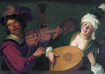 Singing Painting - A Merry Group Behind A Balustrade With A Violin And A Lute Playe by Gerard van Honthorst