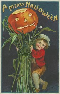 Pumpkin Drawing - A Merry Halloween by Ellen Hattie Clapsaddle