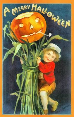 Halloween Cards Photograph - A Merry Halloween by Unknown