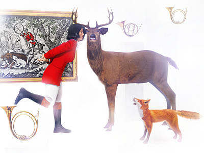 A Merry Hunting Party Print by Leone M Jennarelli