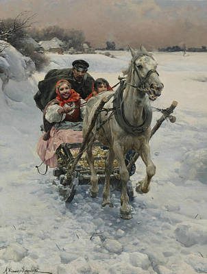 Polish Painters Painting - A Merry Ride by Alfred Kowalski