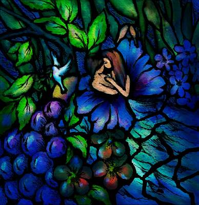 Grape Vines Drawing - A Midnight Dream by Rachel Christine Nowicki
